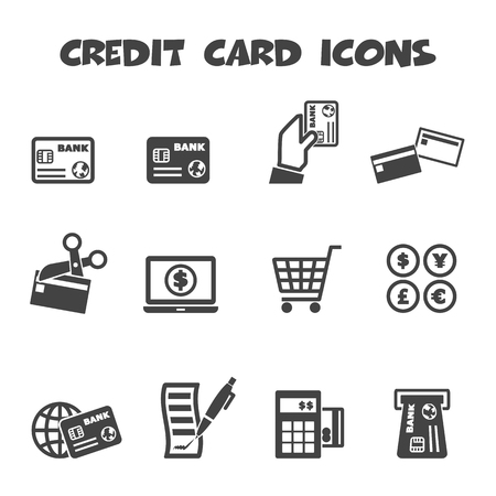 plastic card: credit card icons Illustration