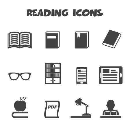 literatura: lectura de iconos Vectores