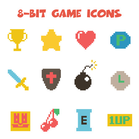 8 bit item icons Vector