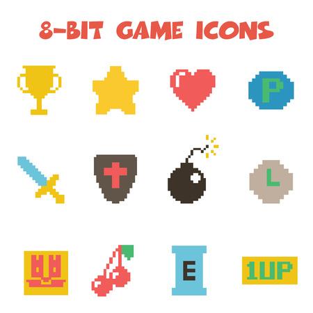 trofeo: Iconos tema 8 bits Vectores