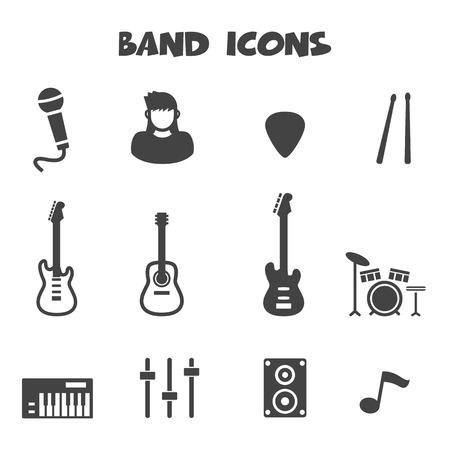 teclado de piano: iconos de la banda Vectores
