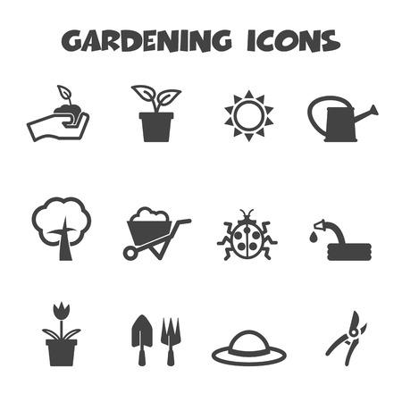 germinación: Iconos de jardinería Vectores