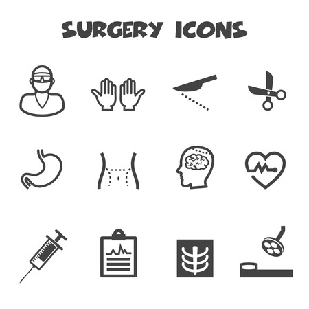 surgery bed: surgery icons Illustration
