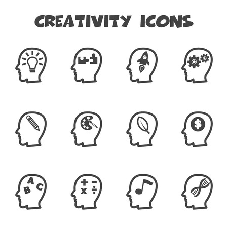 creativity icons, mono vector symbols Vector