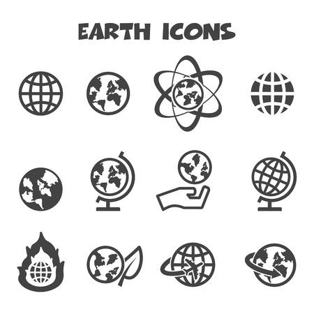 earth pollution: earth icons, mono vectors symbols