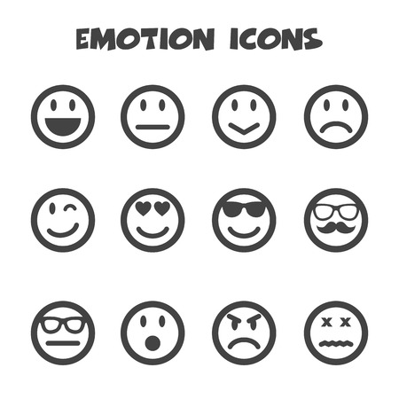 winking: emotion icons, mono vector symbols