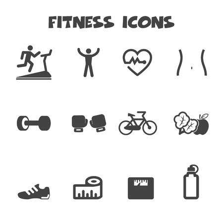 fitness icons, mono vector symbols Vector