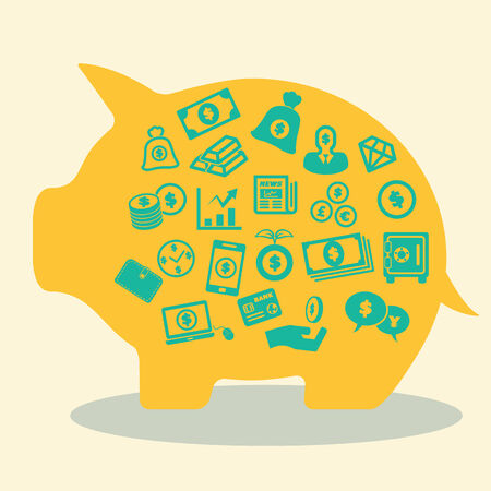 bank note: money concept in piggy bank, vector icons