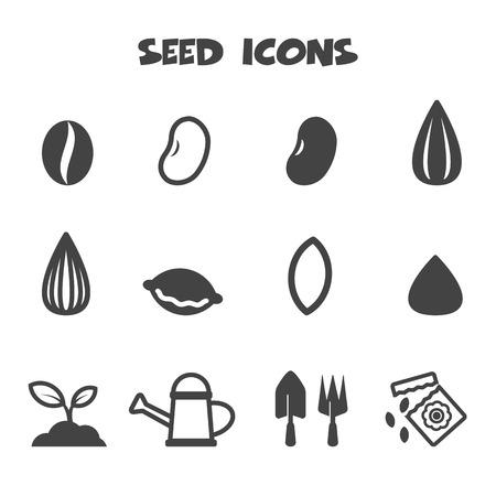 plants growing: Icone di semi, simboli mono vettore