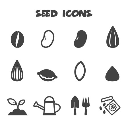 sunflower seeds: seed icons, mono vector symbols
