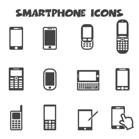 touch phone: smartphone icons, mono vector symbols Illustration