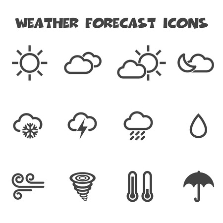 weather forecast icons, mono vector symbols