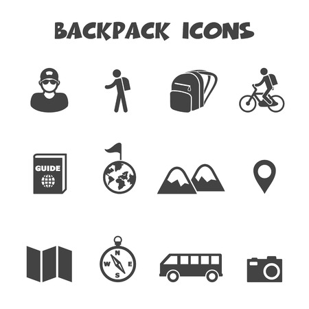 walking trail: backpack icons, mono vector symbols