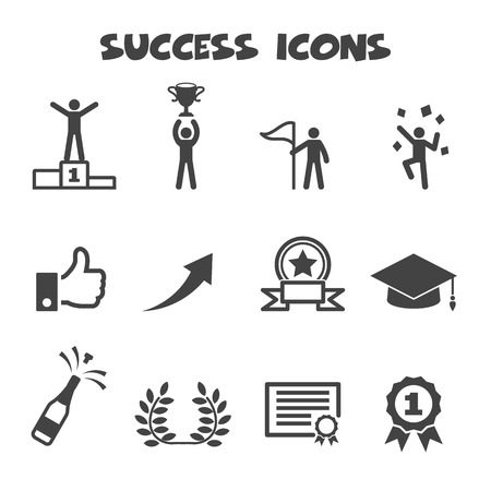 business success: success icons, mono vector symbols