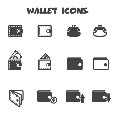 wallet: wallet icons, mono vector symbols Illustration
