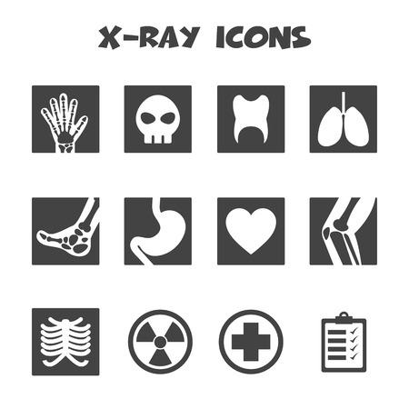 broken knee: x-ray icons, mono vector symbols
