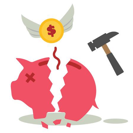 monetary concept: broken piggy bank, monetary concept Illustration