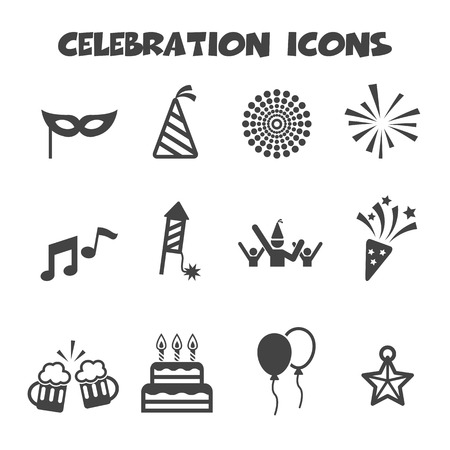 celebration icons, mono vector symbols