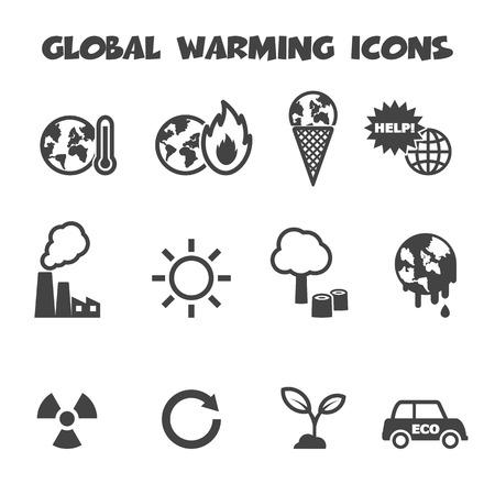 opwarming van de aarde pictogrammen, mono vectorsymbolen Vector Illustratie