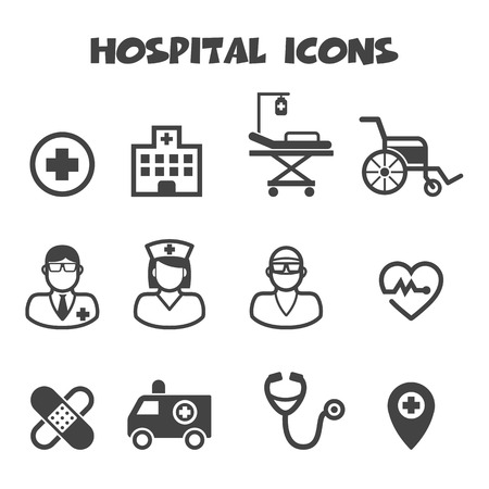 patient in hospital: hospital icons, mono vector symbols