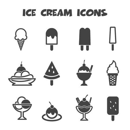helado caricatura: iconos de helado, símbolos mono vector