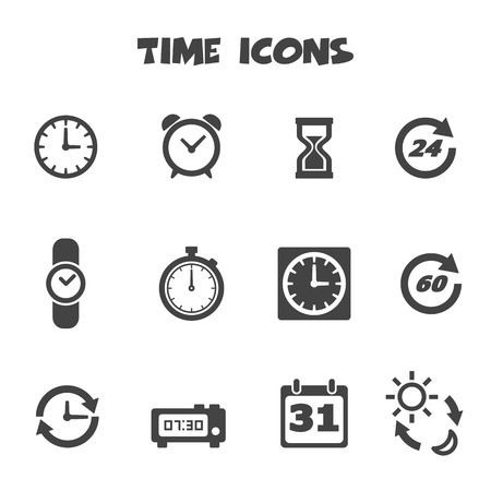 time icons, mono vector symbols 向量圖像