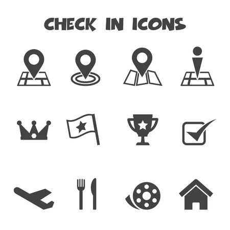 check in: check in icons, mono vector symbols Illustration