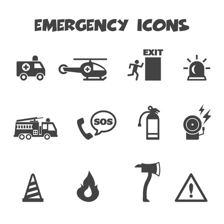 emergency icons, mono vector symbols Vector