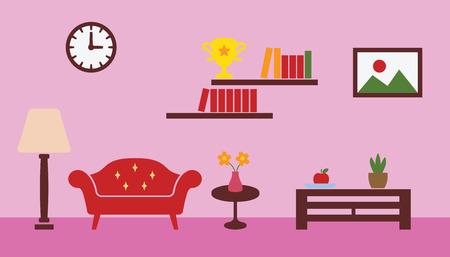 classic living room: living room interior design, vector concept