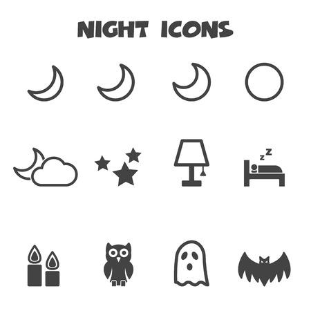 black pictogram: night icons, mono vector symbols