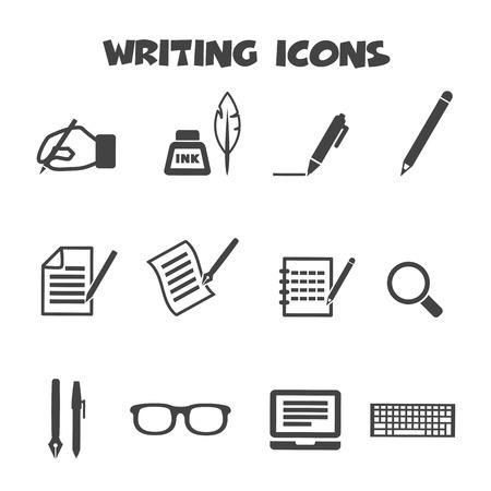 schrijven iconen, mono vectorsymbolen