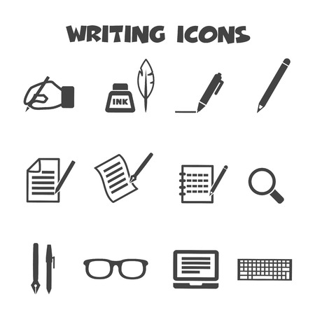 article writing: writing icons, mono vector symbols Illustration