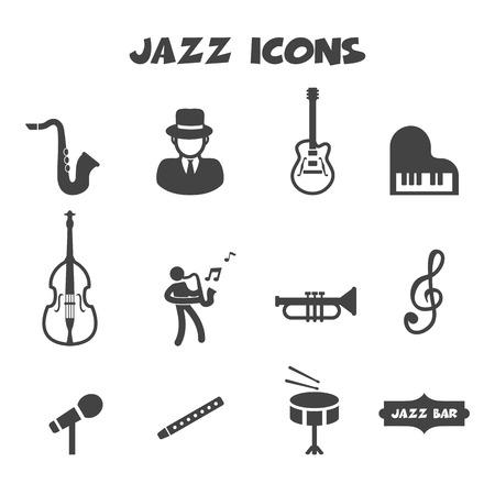 jazz man: jazz icons, mono vector symbols