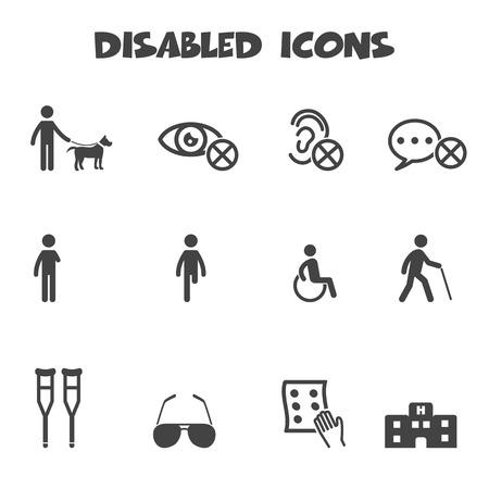 icônes handicapés, symboles de vecteur mono