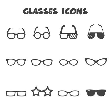 glasses icons, mono vector symbols Vector