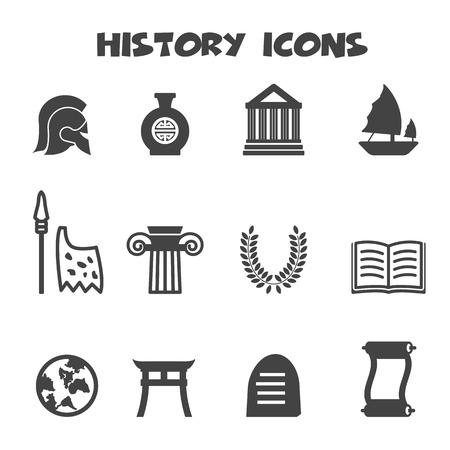 Icone di storia, simboli mono vettore