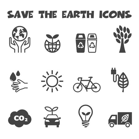 dioxido de carbono: guardar los iconos de la tierra, los símbolos de mono vector