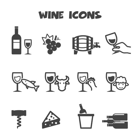 wine icons, mono vector symbols Illustration