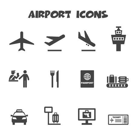 passport background: airport icons, mono vector symbols