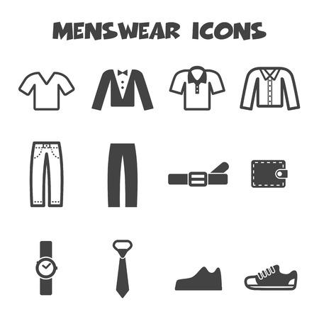 menswear: menswear icons, mono vector symbols
