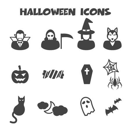 halloween icons, mono vector symbols Illustration