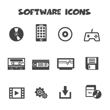 video cassette tape: software icons, mono vector symbols