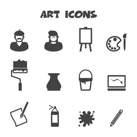 art icons, mono vector symbols Vector