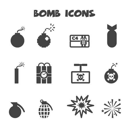 bombe atomique: icônes à la bombe, symboles de vecteur mono Illustration