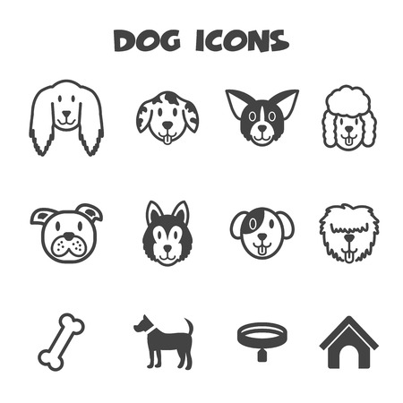 dog icons, mono vector symbols