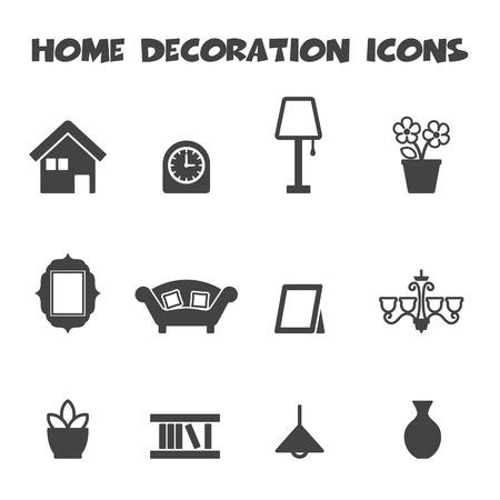 Iconos Decoración Del Hogar Los Símbolos De Mono Vector