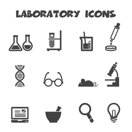 laboratory icons, mono vector symbols