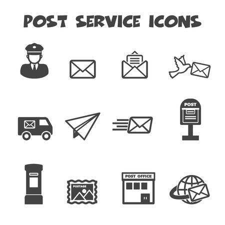 post box: post service icons, mono vector symbols Illustration