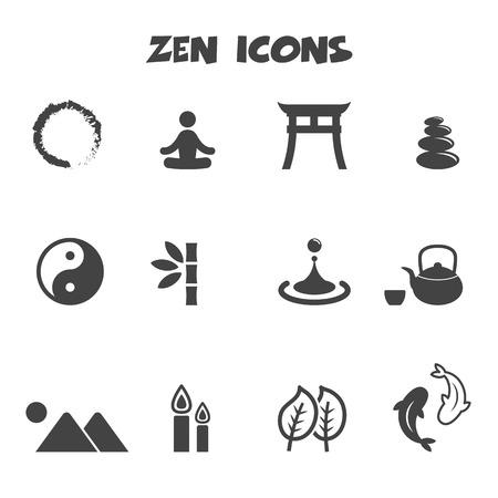 fish spa: zen icons, mono vector symbols