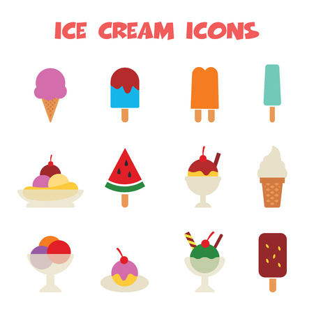 ice cream icons, colorful vector symbols Vector